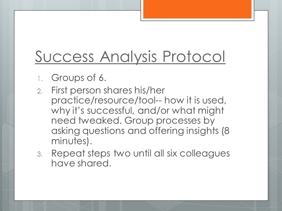 Success Analysis Protocol 1. Groups of 6. 2.