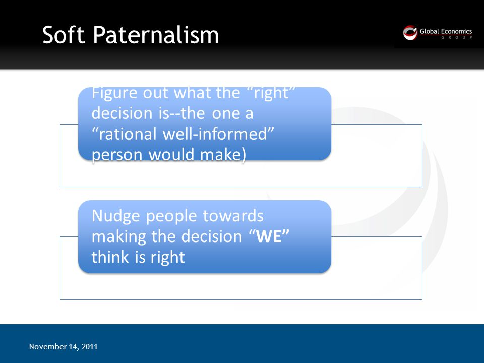 Soft Paternalism November 14, 2011 Figure out what the right decision is--the one a rational well-informed person would make) Nudge people towards making the decision WE think is right