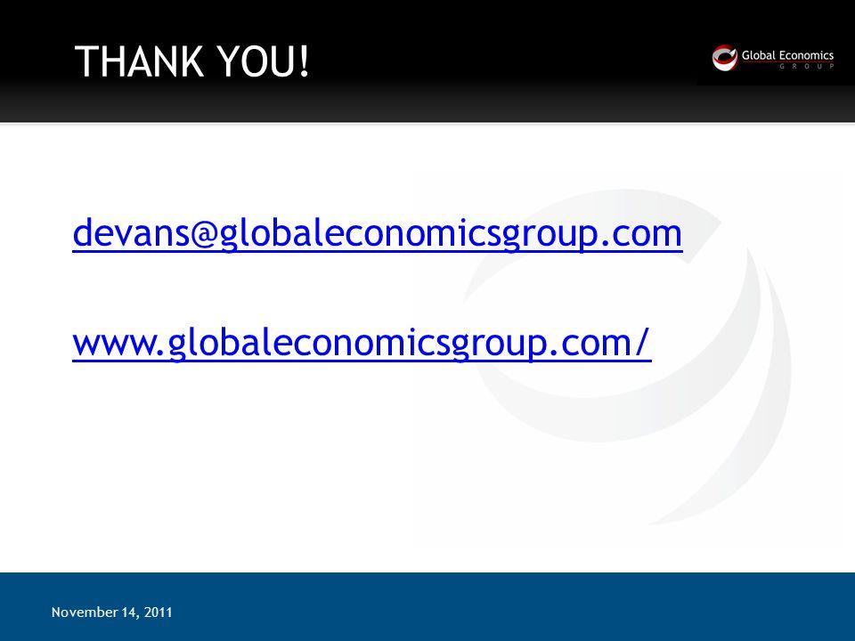 THANK YOU! devans@globaleconomicsgroup.com www.globaleconomicsgroup.com/ November 14, 2011