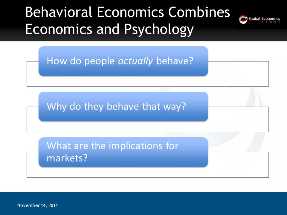 Behavioral Economics Combines Economics and Psychology November 14, 2011 How do people actually behave Why do they behave that way.