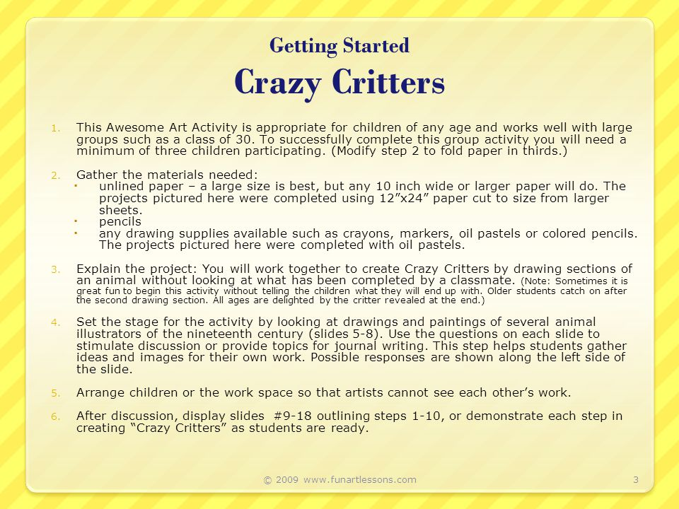 Getting Started Crazy Critters 1.