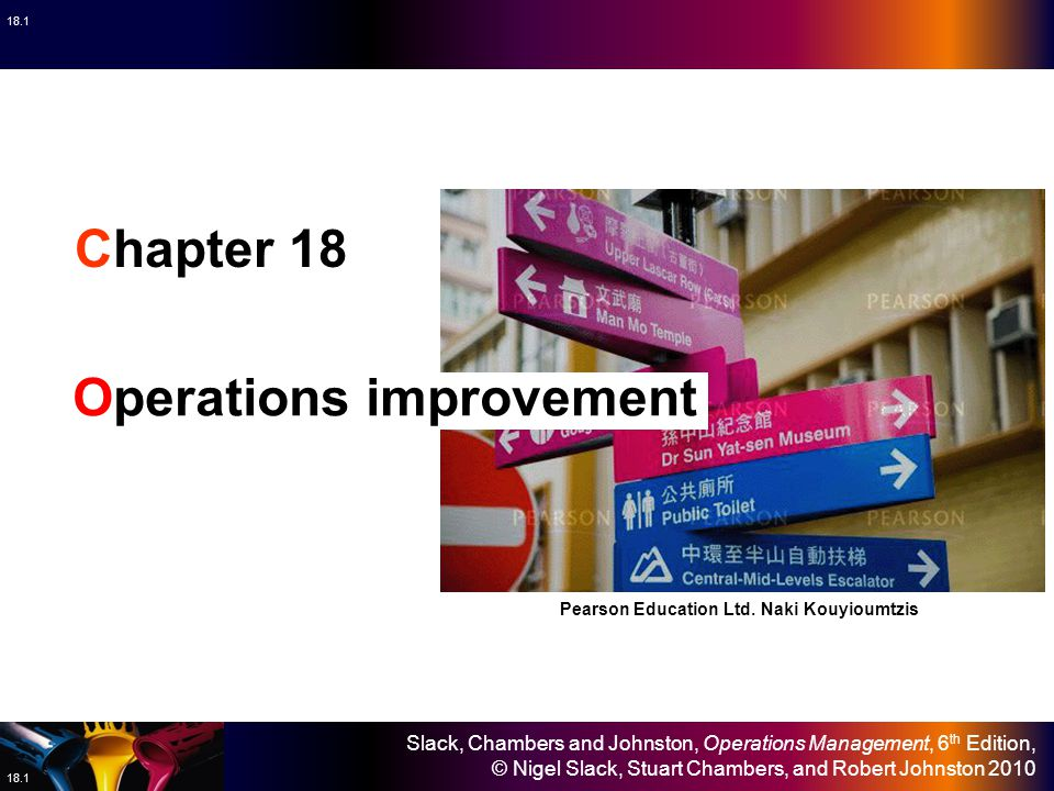 Slack, Chambers and Johnston, Operations Management, 6 th Edition, © Nigel Slack, Stuart Chambers, and Robert Johnston 2010 18.12 Performance Time Planned 'breakthrough' improvements Actual improvement pattern 'Breakthrough' improvement, does not always deliver hoped-for improvements.
