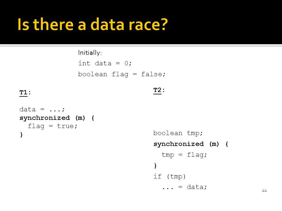 T1: data =...; synchronized (m) { flag = true; } 44 T2: boolean tmp; synchronized (m) { tmp = flag; } if (tmp)...