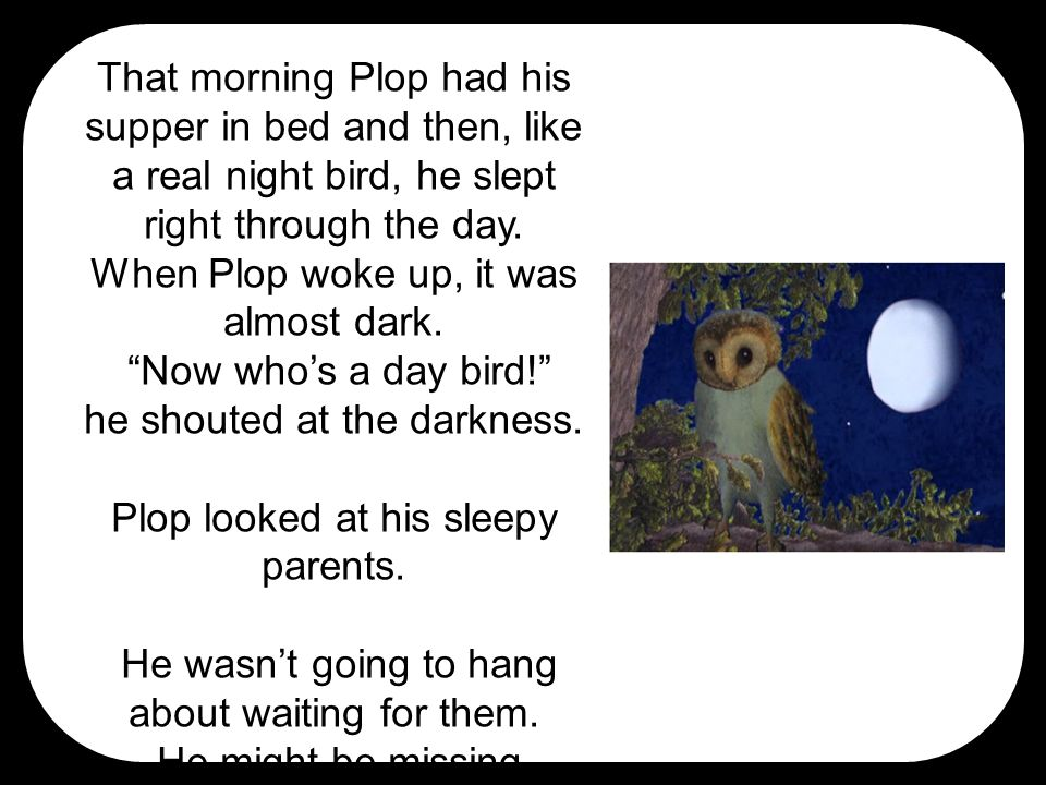 """That morning Plop had his supper in bed and then, like a real night bird, he slept right through the day. When Plop woke up, it was almost dark. """"Now"""