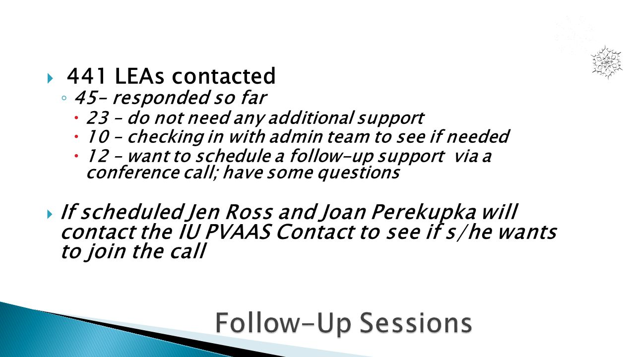  441 LEAs contacted ◦ 45– responded so far  23 – do not need any additional support  10 – checking in with admin team to see if needed  12 – want to schedule a follow-up support via a conference call; have some questions  If scheduled Jen Ross and Joan Perekupka will contact the IU PVAAS Contact to see if s/he wants to join the call