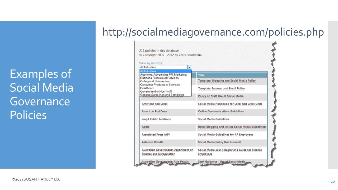 ©2013 SUSAN HANLEY LLC Examples of Social Media Governance Policies http://socialmediagovernance.com/policies.php 20