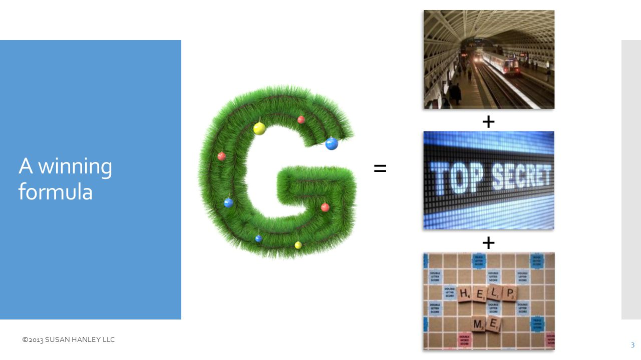 ©2013 SUSAN HANLEY LLC A winning formula = + + 3