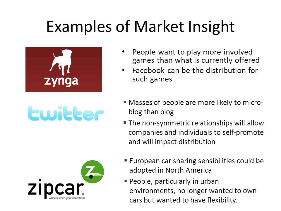 Examples of Market Insight People want to play more involved games than what is currently offered Facebook can be the distribution for such games  Ma
