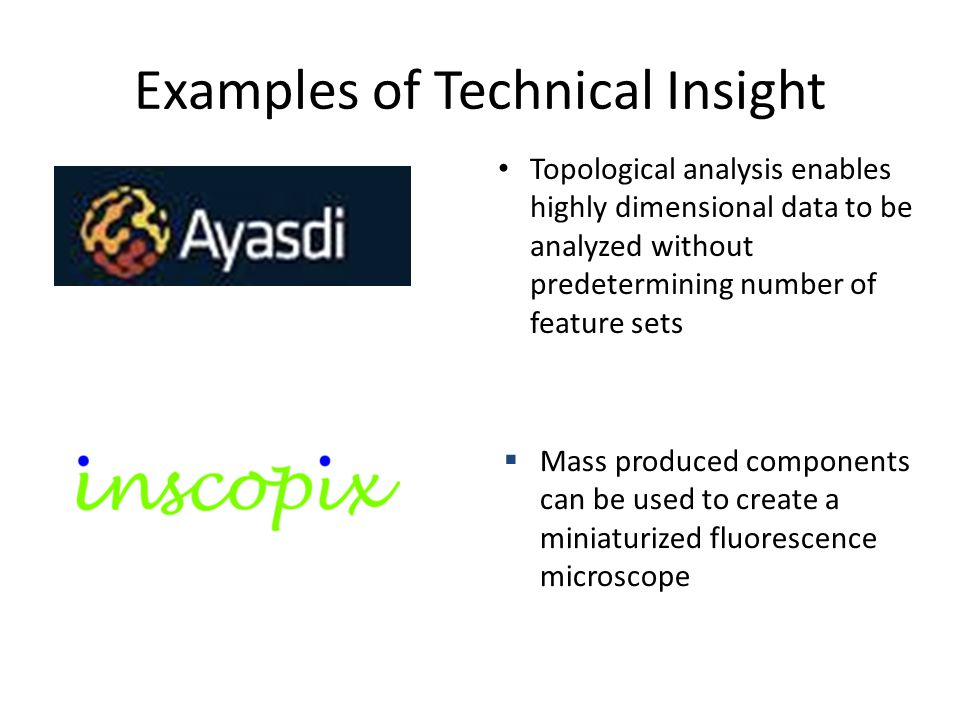 Examples of Technical Insight Topological analysis enables highly dimensional data to be analyzed without predetermining number of feature sets  Mass