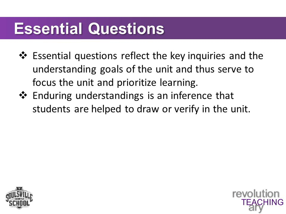 Essential Questions  Essential questions reflect the key inquiries and the understanding goals of the unit and thus serve to focus the unit and prioritize learning.