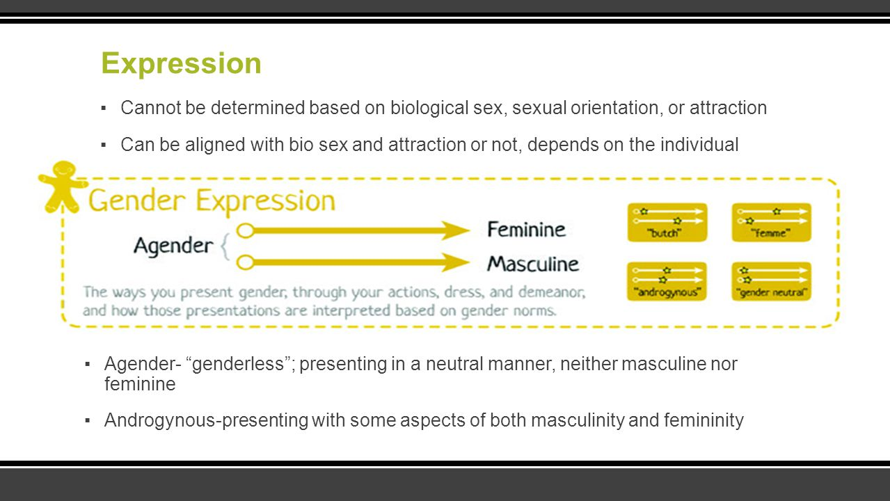 Expression ▪Cannot be determined based on biological sex, sexual orientation, or attraction ▪Can be aligned with bio sex and attraction or not, depend