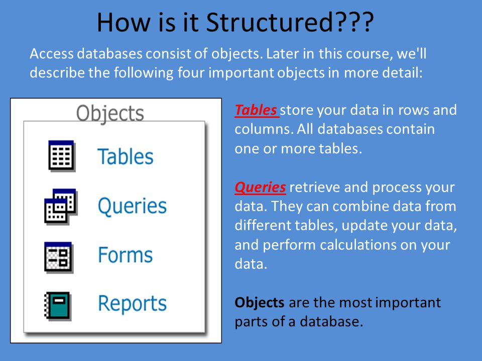 How is it Structured??.Access databases consist of objects.
