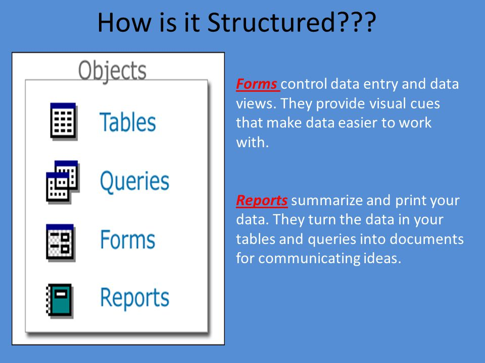 How is it Structured . Access databases consist of objects.
