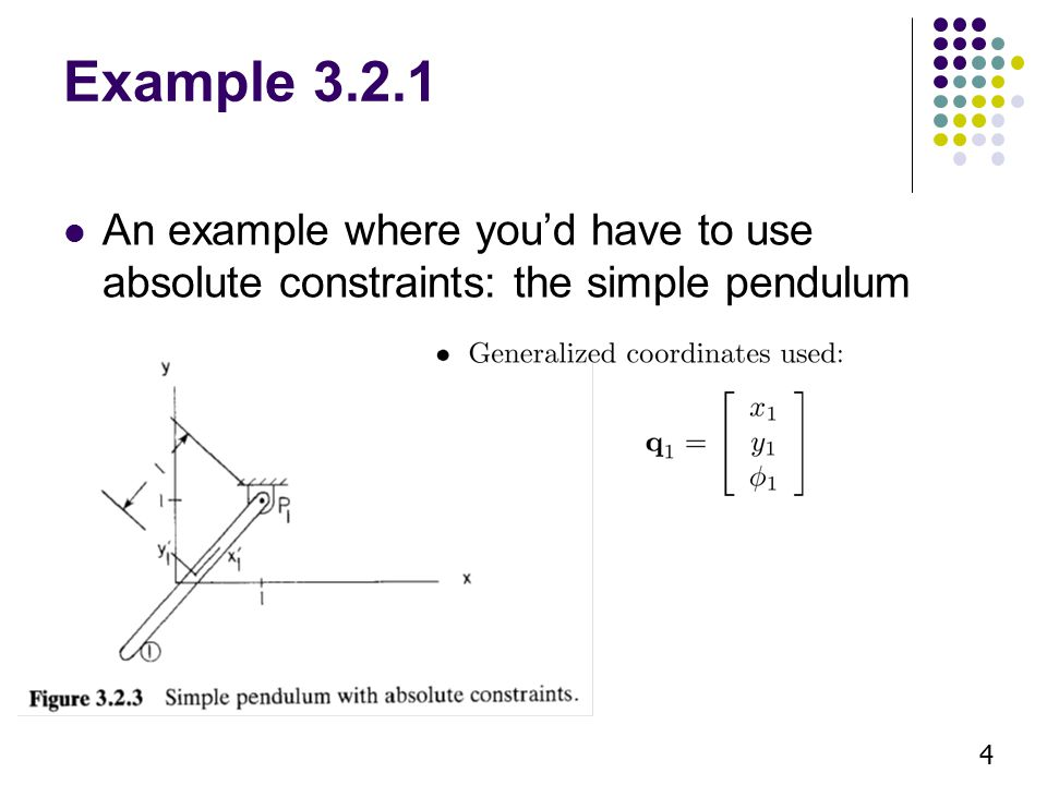 Example 3.2.1 An example where you'd have to use absolute constraints: the simple pendulum 4
