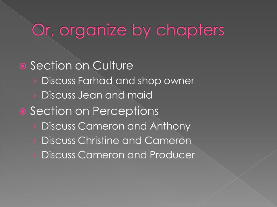  Section on Culture › Discuss Farhad and shop owner › Discuss Jean and maid  Section on Perceptions › Discuss Cameron and Anthony › Discuss Christine and Cameron › Discuss Cameron and Producer
