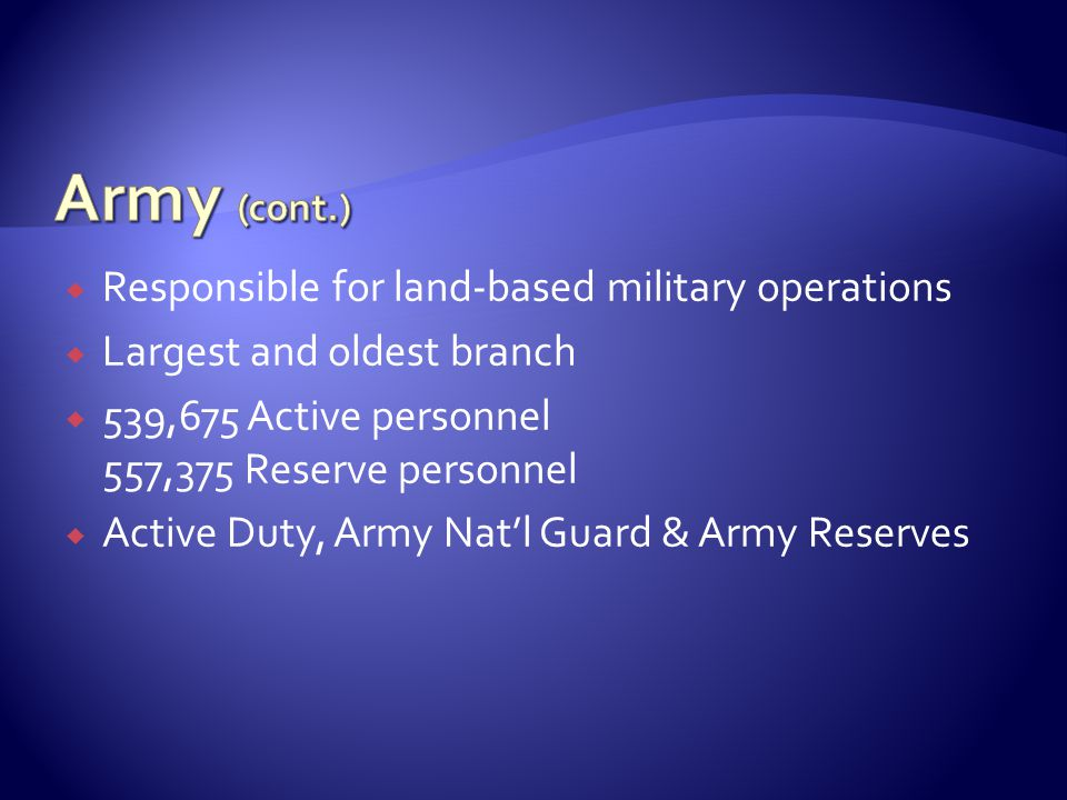  Responsible for land-based military operations  Largest and oldest branch  539,675 Active personnel 557,375 Reserve personnel  Active Duty, Army