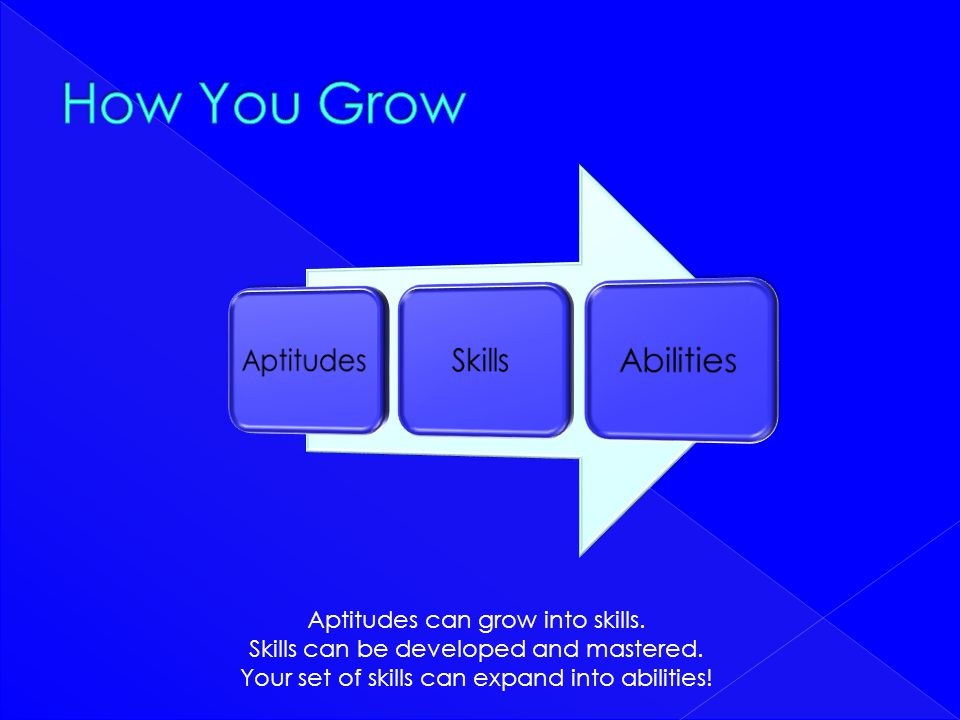 Aptitudes can grow into skills. Skills can be developed and mastered. Your set of skills can expand into abilities!