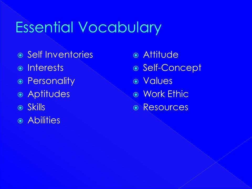  Self Inventories  Interests  Personality  Aptitudes  Skills  Abilities  Attitude  Self-Concept  Values  Work Ethic  Resources