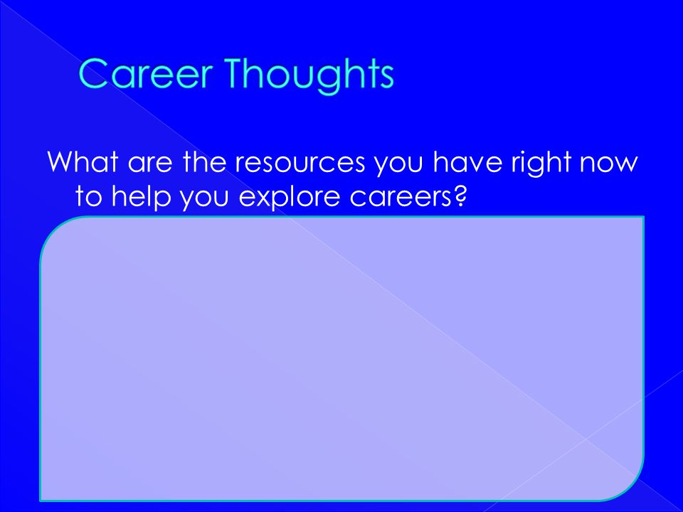 What are the resources you have right now to help you explore careers?