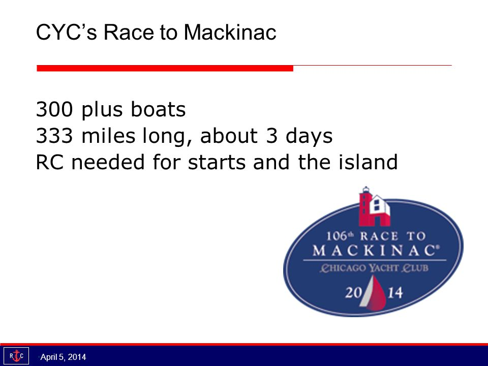 CYC's Race to Mackinac 300 plus boats 333 miles long, about 3 days RC needed for starts and the island April 5, 2014