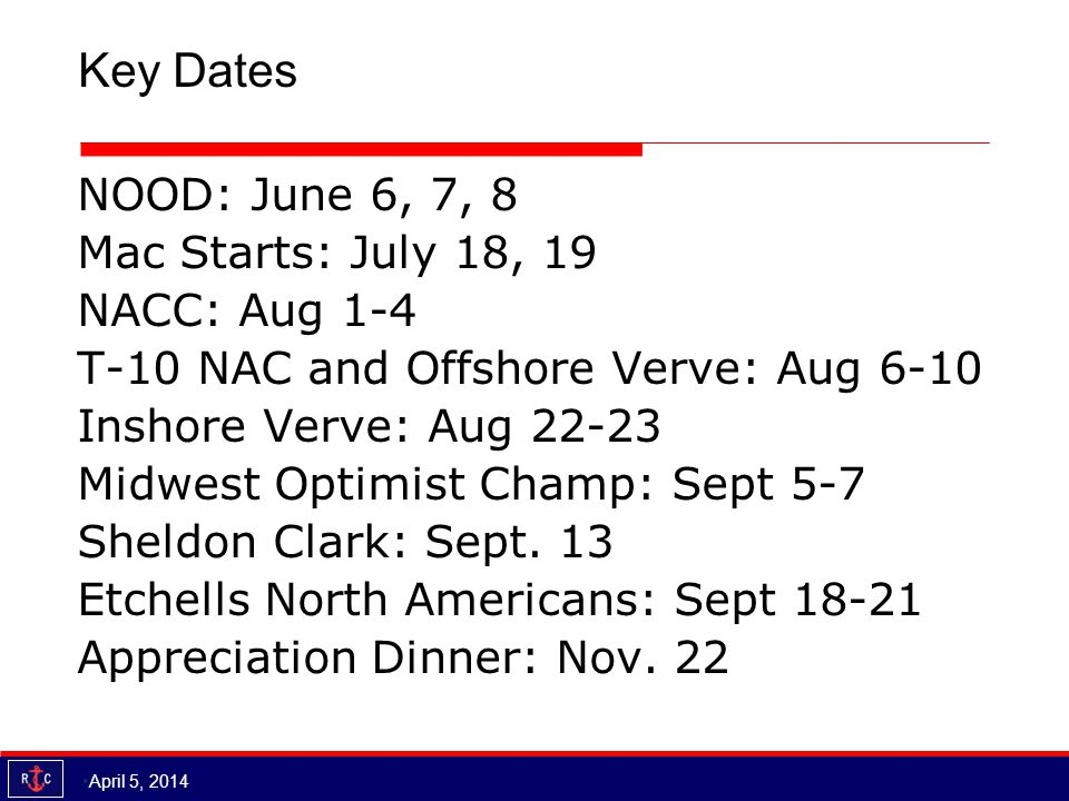 Key Dates NOOD: June 6, 7, 8 Mac Starts: July 18, 19 NACC: Aug 1-4 T-10 NAC and Offshore Verve: Aug 6-10 Inshore Verve: Aug 22-23 Midwest Optimist Champ: Sept 5-7 Sheldon Clark: Sept.