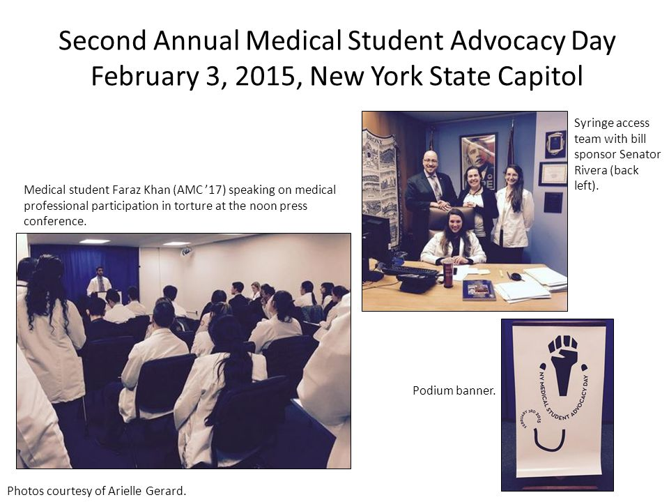 Second Annual Medical Student Advocacy Day February 3, 2015, New York State Capitol Medical student Faraz Khan (AMC '17) speaking on medical professio
