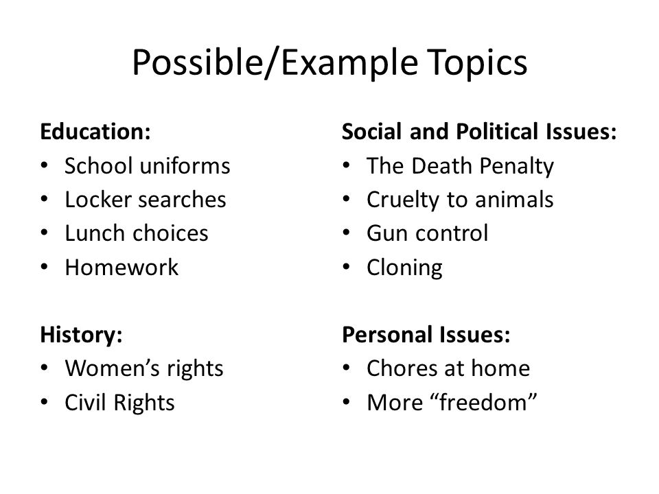 Possible/Example Topics Education: School uniforms Locker searches Lunch choices Homework History: Women's rights Civil Rights Social and Political Is