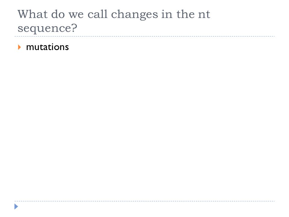 What do we call changes in the nt sequence?  mutations