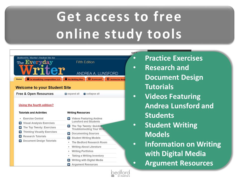 Get access to free online study tools Get access to free online study tools Practice Exercises Research and Document Design Tutorials Videos Featuring Andrea Lunsford and Students Student Writing Models Information on Writing with Digital Media Argument Resources