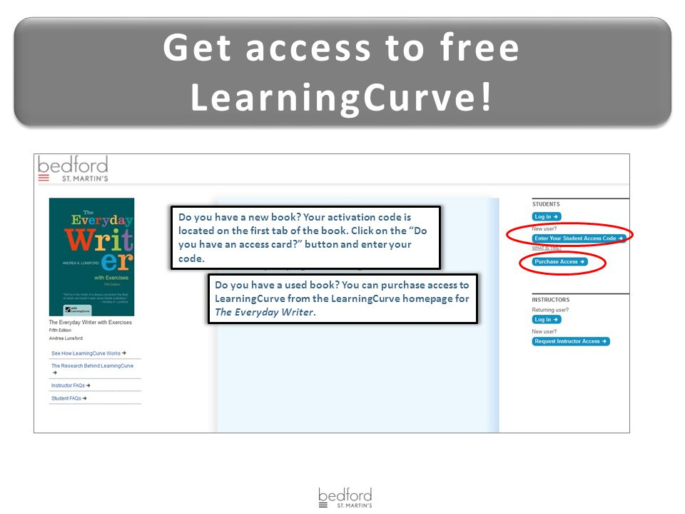 Get access to free LearningCurve! Get access to free LearningCurve! Do you have a new book? Your activation code is located on the first tab of the bo