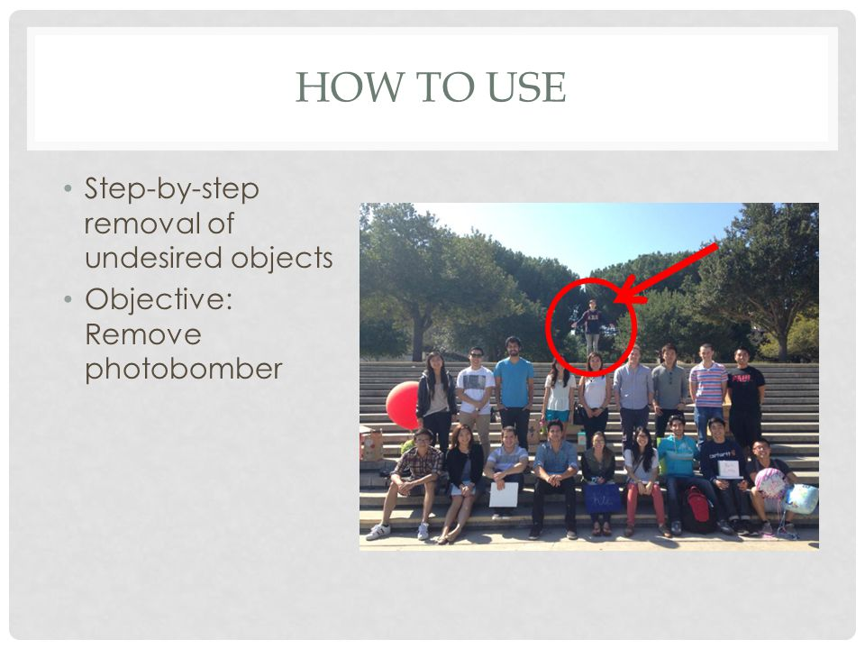 HOW TO USE Step-by-step removal of undesired objects Objective: Remove photobomber