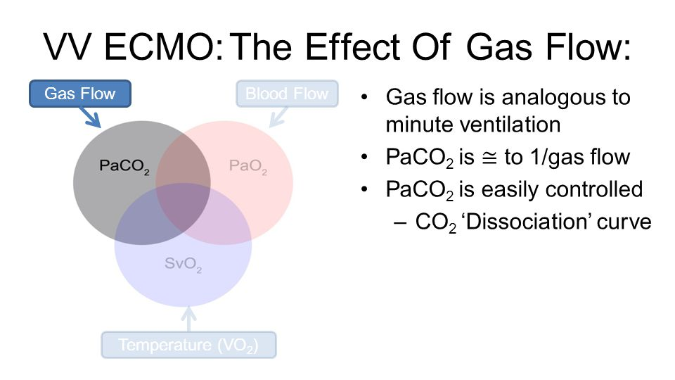 VV ECMO: The Effect Of Gas Flow: Gas flow is analogous to minute ventilation PaCO 2 is ≅ to 1/gas flow PaCO 2 is easily controlled – CO 2 'Dissociation' curve Gas FlowBlood Flow Temperature (VO 2 )