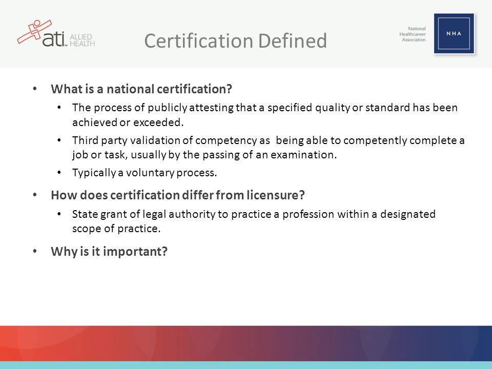 REVIEW NHA's Certification Exam Blueprints 17 …may be accessed online and can be referenced for curriculum alignment!
