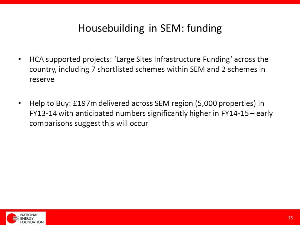 Housebuilding in SEM: funding HCA supported projects: 'Large Sites Infrastructure Funding' across the country, including 7 shortlisted schemes within