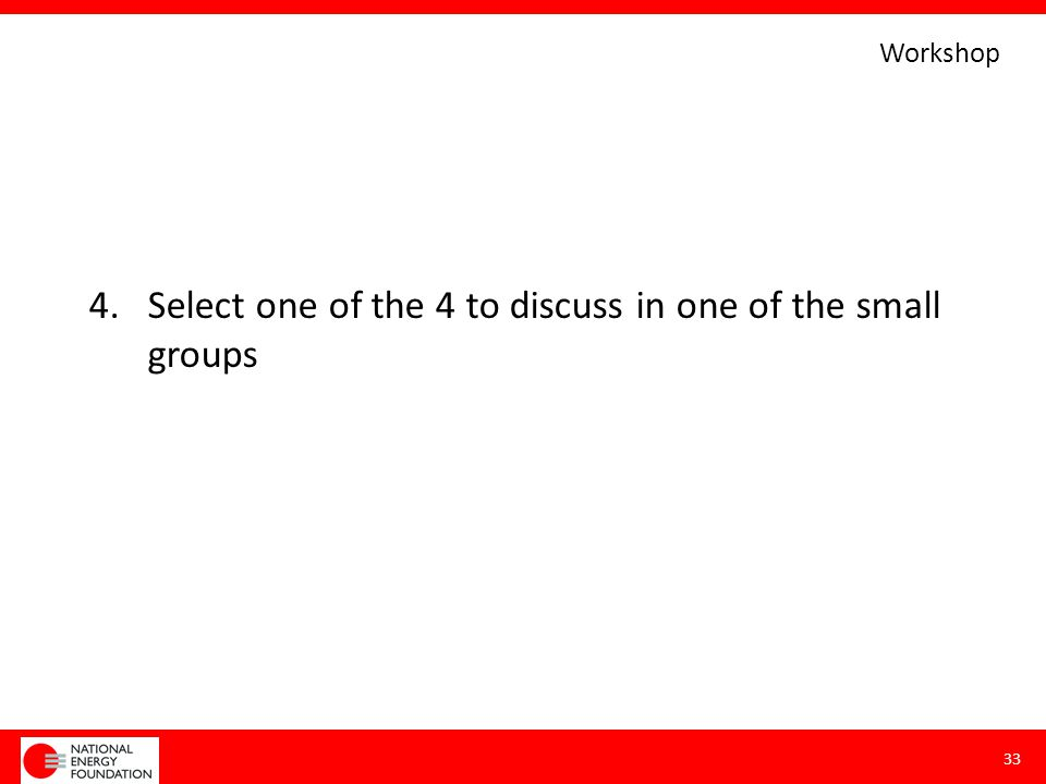 4.Select one of the 4 to discuss in one of the small groups 33 Workshop