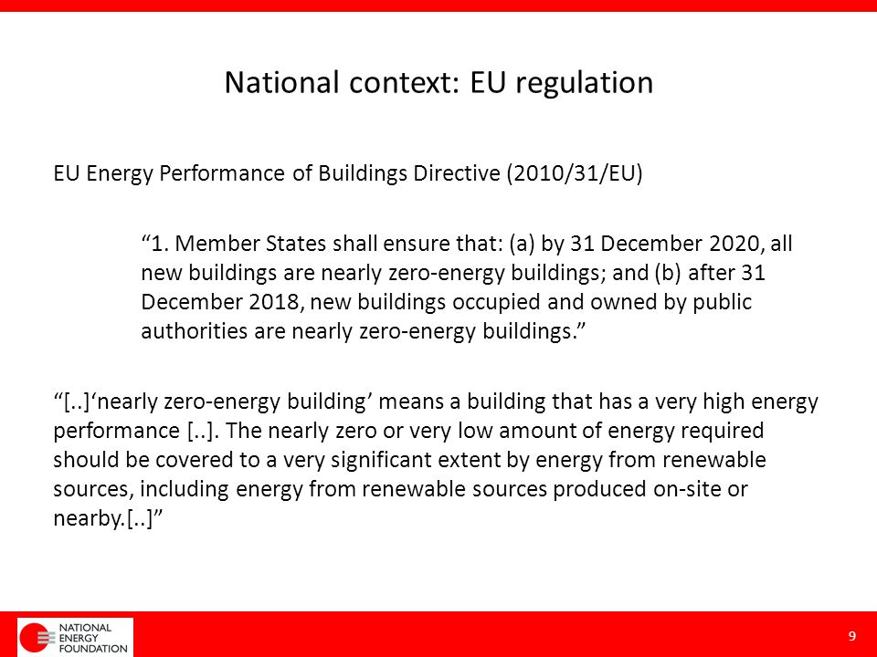 National context: regulation UK 2007 policy: 'from 2016 all new homes must meet Zero Carbon Standard' Lots of discussion about definition of 'Zero Carbon' Proposed Zero Carbon Hub definition 10