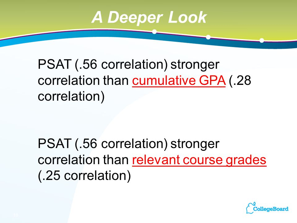 16 PSAT (.56 correlation) stronger correlation than cumulative GPA (.28 correlation) PSAT (.56 correlation) stronger correlation than relevant course grades (.25 correlation) A Deeper Look