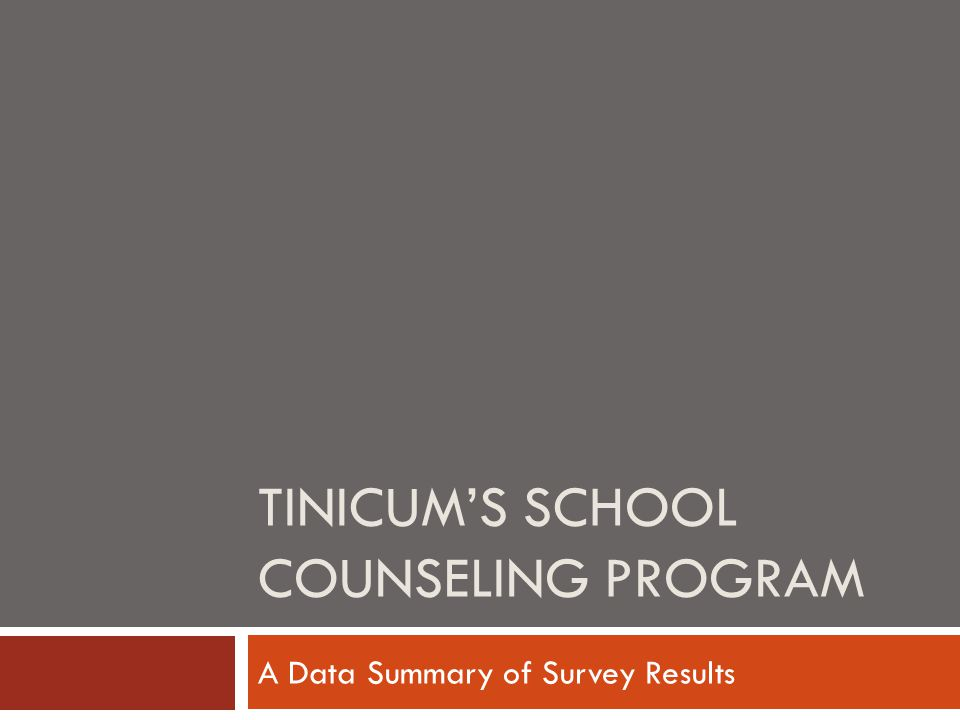 TINICUM'S SCHOOL COUNSELING PROGRAM A Data Summary of Survey Results