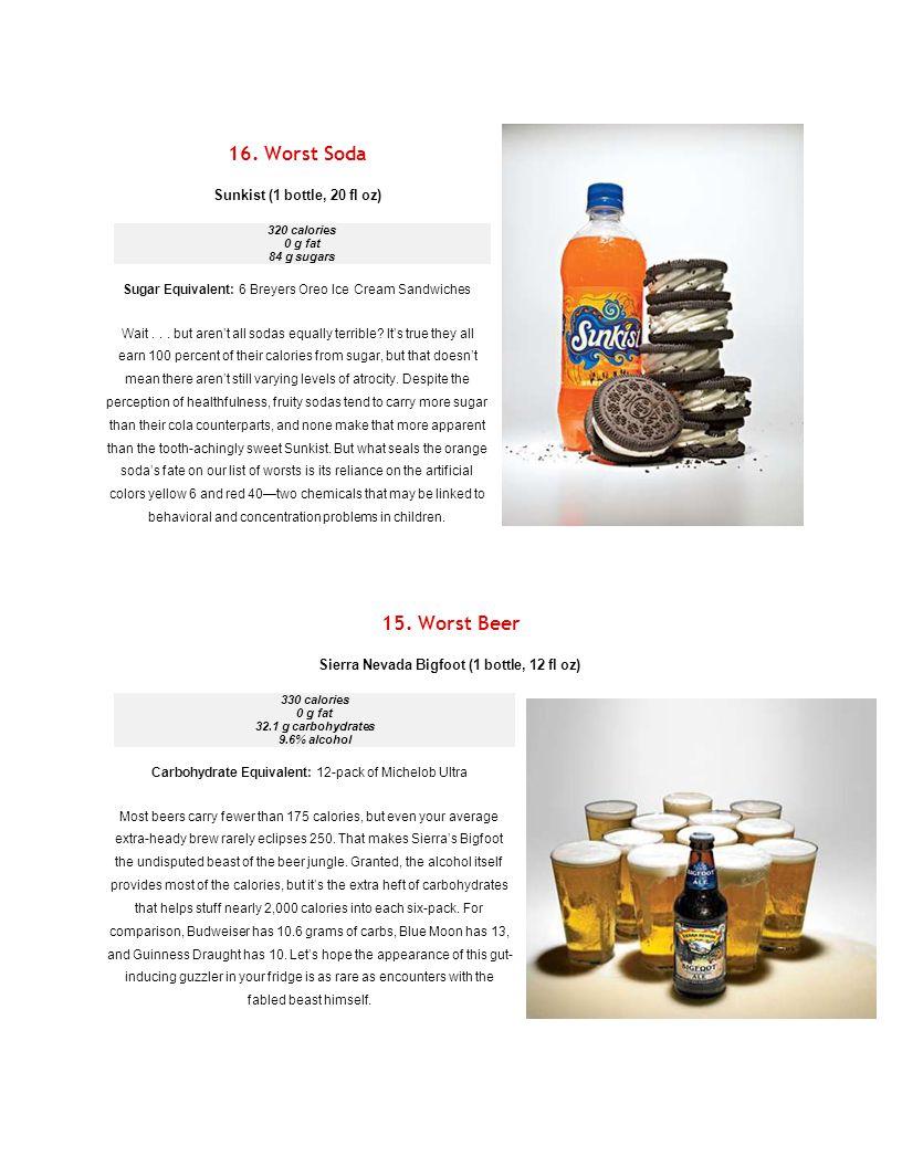 16. Worst Soda Sunkist (1 bottle, 20 fl oz) 320 calories 0 g fat 84 g sugars Sugar Equivalent: 6 Breyers Oreo Ice Cream Sandwiches Wait... but aren't