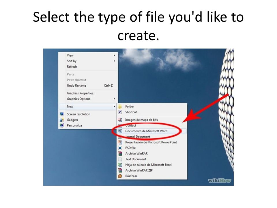 Select the type of file you d like to create.