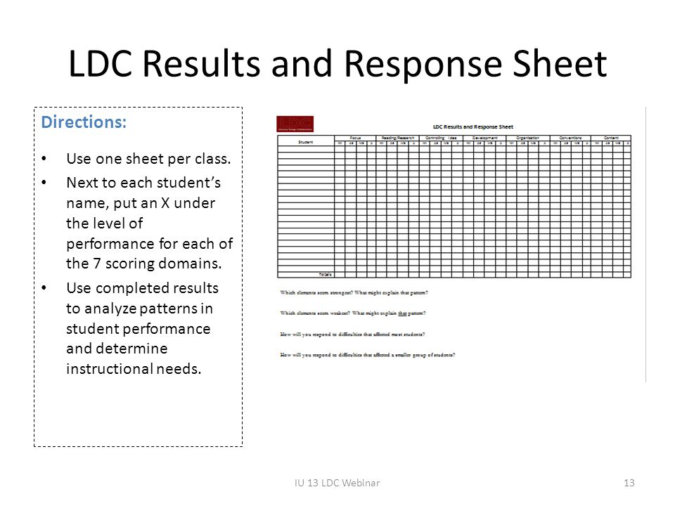 LDC Results and Response Sheet Directions: Use one sheet per class. Next to each student's name, put an X under the level of performance for each of t
