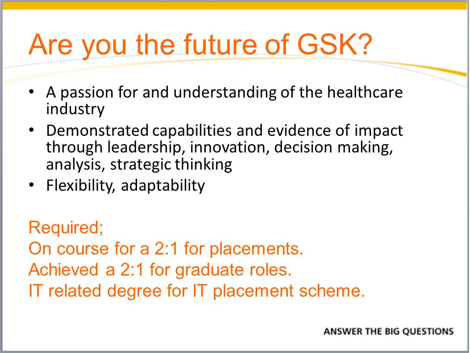 Is GSK right for you.