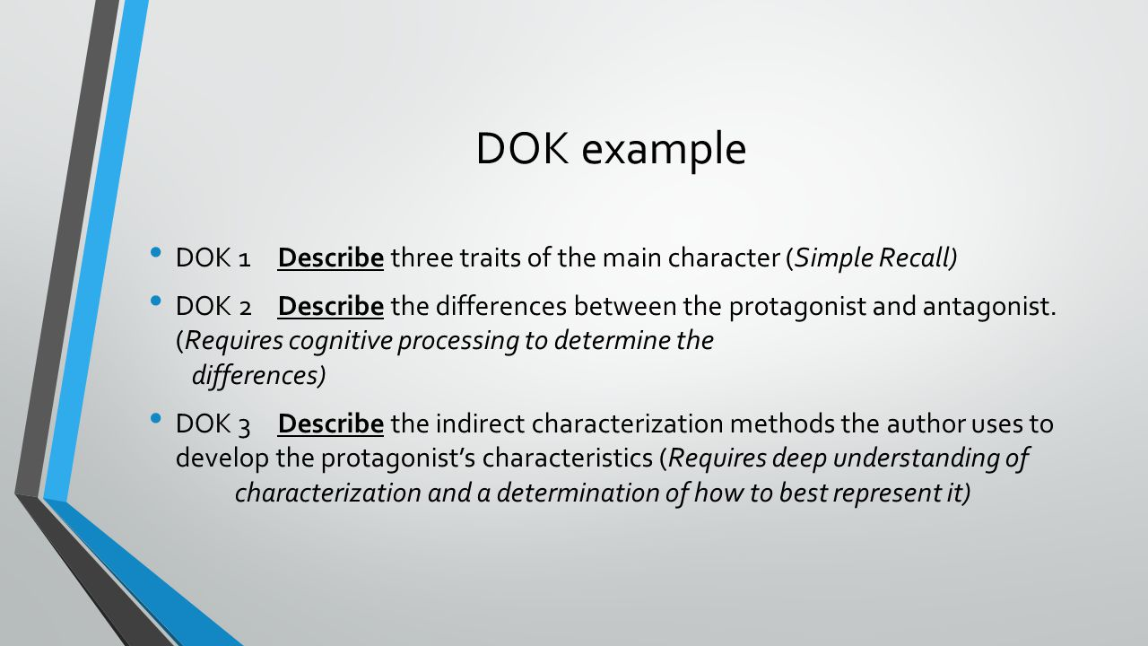 DOK example DOK 1Describe three traits of the main character (Simple Recall) DOK 2Describe the differences between the protagonist and antagonist. (Re