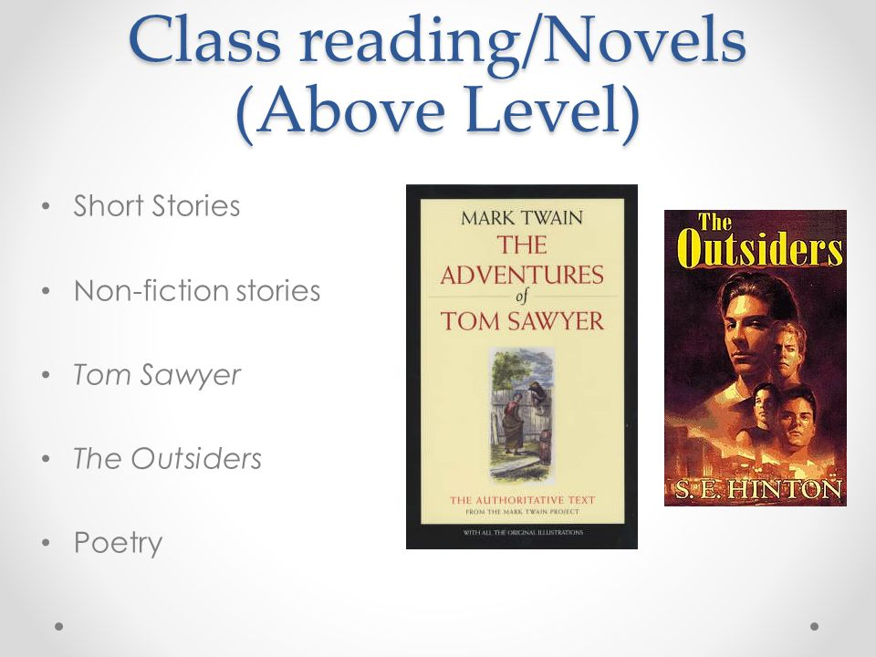 Class reading/Novels (Above Level) Short Stories Non-fiction stories Tom Sawyer The Outsiders Poetry