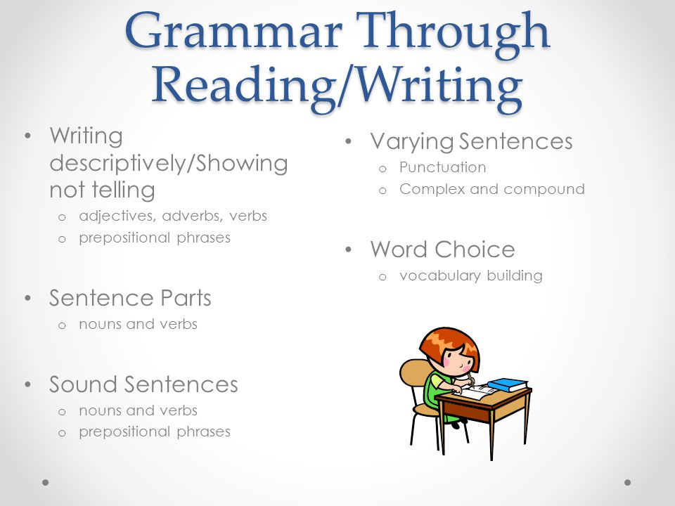 Grammar Through Reading/Writing Writing descriptively/Showing not telling o adjectives, adverbs, verbs o prepositional phrases Sentence Parts o nouns