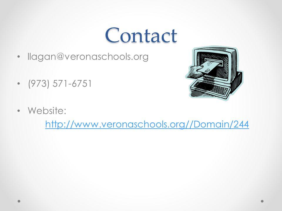 Contact llagan@veronaschools.org (973) 571-6751 Website: http://www.veronaschools.org//Domain/244