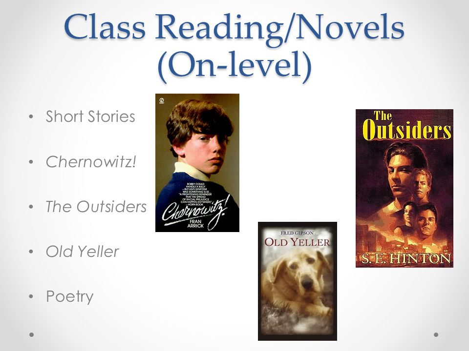 Class Reading/Novels (On-level) Short Stories Chernowitz! The Outsiders Old Yeller Poetry