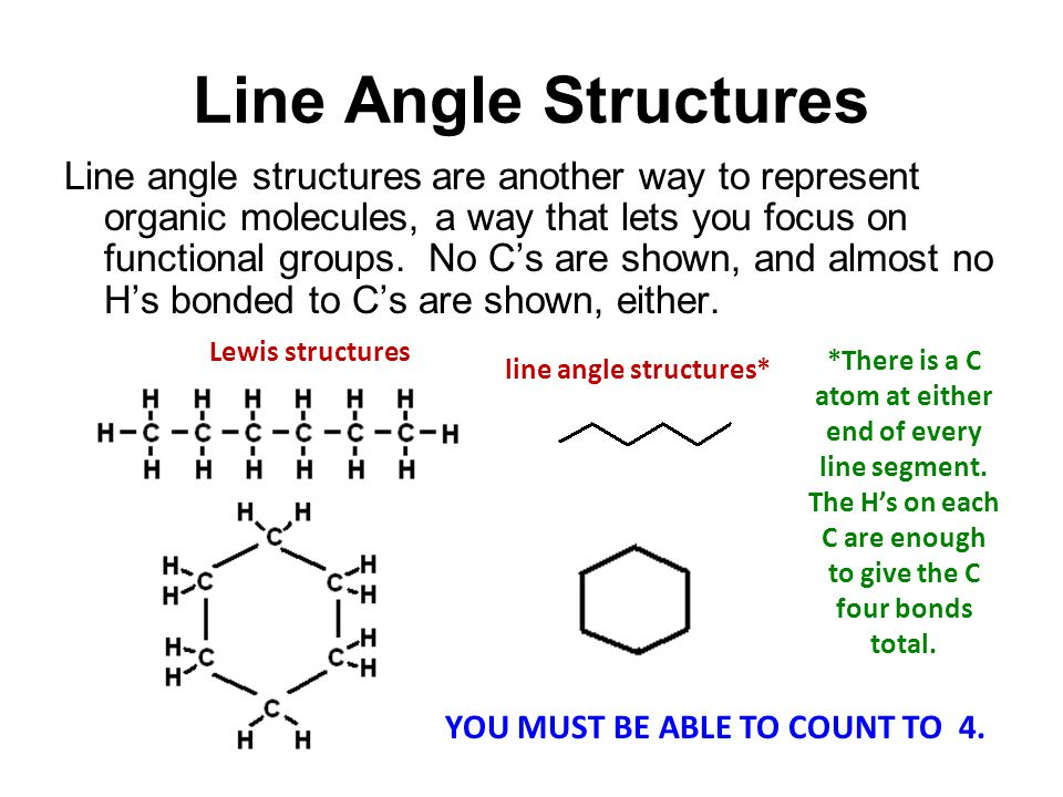Line Angle Structures Line angle structures are another way to represent organic molecules, a way that lets you focus on functional groups.