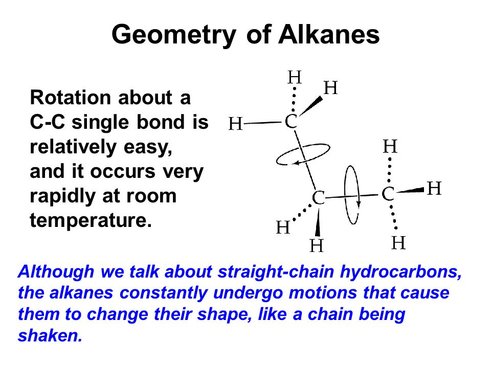 Geometry of Alkanes Rotation about a C-C single bond is relatively easy, and it occurs very rapidly at room temperature.