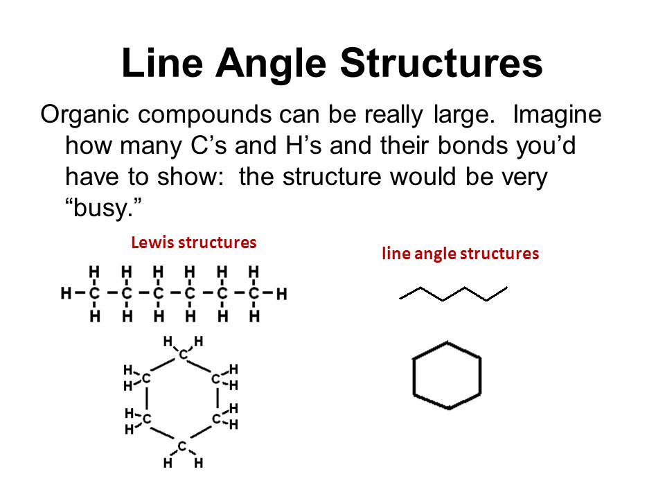 Line Angle Structures Organic compounds can be really large.